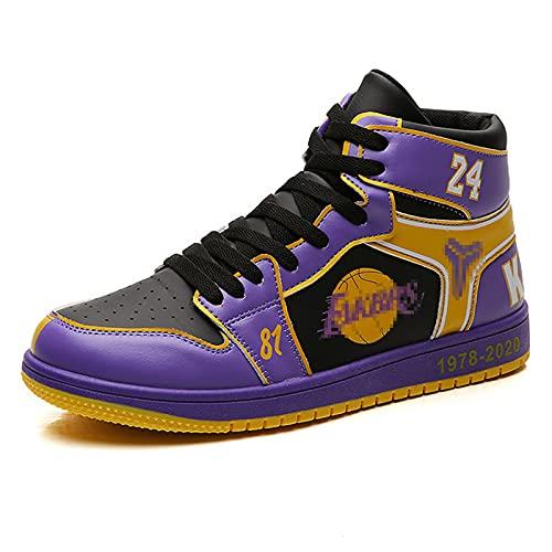 NBAOK Zapatillas de Deporte al Aire Libre Kobe Fashion Conmemorate Basketball Shoes Transpirable High-Top Lace Up Shoes Hombre Mujer Zapatos