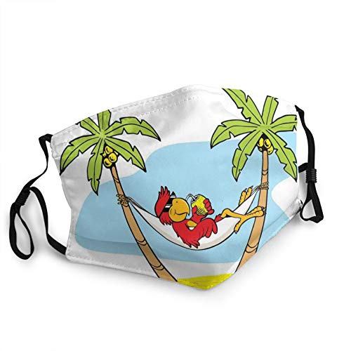 TENJONE Adult Washable and Reusable Facial Warm Windproof Outdoor Fashion Decorative mask,Funny Illustration Parrot Lying Down in Hammock Between Palm Tree Shade in Tropics 1 PCS