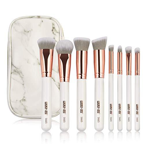 MAANGE Brochas de Maquillaje Pinceles Suavecitas Sintéticos 8 brochas profesionales Brochas para sombra…