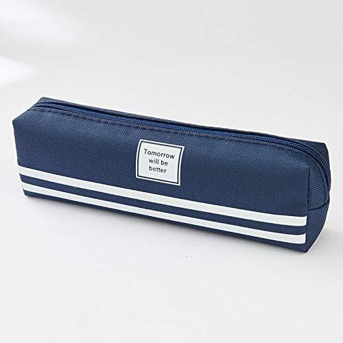 Mapje Dubbel eenvoudige vierkante canvas potlood bulk bags potlooddoos briefpapier studenten station geschikt voor scholieren en kantoor donkerblauw