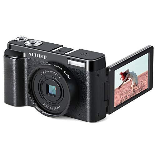 Digitalkamera Camcorder, ACTITOP FHD 1080P 24MP 30FPS Vlogging Kamera WiFi Videokamera 16X Digitaler Zoom 3.0-Umdrehungsbildschirm mit Weitwinkelobjektiv und 2 Batterien