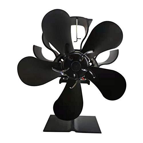 SYXMSM 5 Cuchillas De La Estufa Eléctrica De La Estufa De La Estufa De La Estufa De Madera Quemador De Leña Silenciosa Casera Negra Chimenea Ventilador Eficiente Distribución De Calor