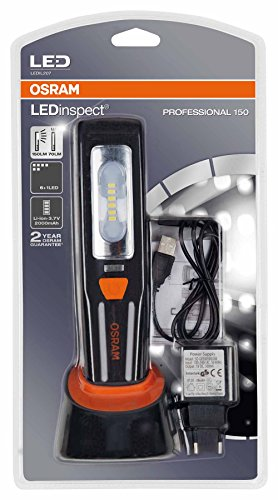 OSRAM LEDinspect PROFESSIONAL 150, lámpara con LED recargable para inspecciones y trabajos de taller, LEDIL207, especial para trabajos en el vehículo en su garaje, estuche (1 unidad)