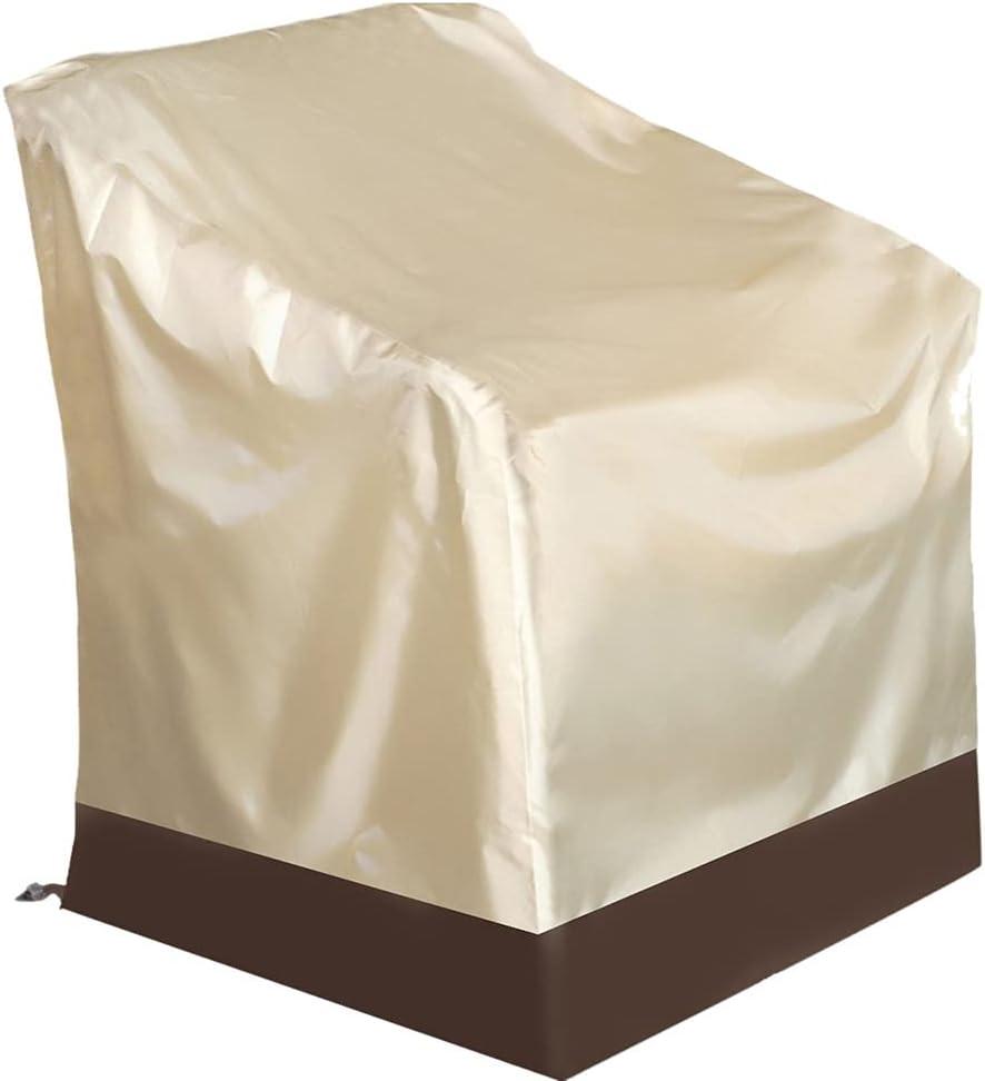 Fundas Sillas de Apilables Jardín, 210D Oxford Cubierta Protectora Impermeable, Resistente al Viento, Anti-UV Polvo/Hojas, para Patio Terraza, Protector de Muebles al Aire Libre