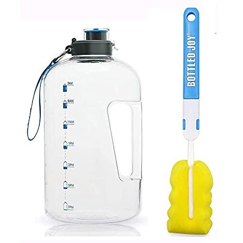 Botella de Agua Deportiva, 3.78L Water Bottle, Botellas de Agua para Bicicletas,Botella Agua Reutilizable Botellas de Agua con Marcador de Tiempo para Athletic, Gimnasio, Oficina