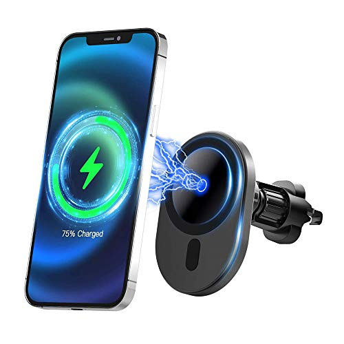 Compatible mag-Safe Car Charger Magnetic Car Air Vent Mount Wireless Charger Soporte del Teléfono con 15w Fast Charging Auto-Clamping para mag-Safe/Magnetic Case Only