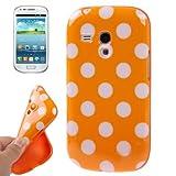 Rocina - Carcasa de TPU para Samsung S7562 Galaxy S Duos, diseño de lunares, color blanco y naranja