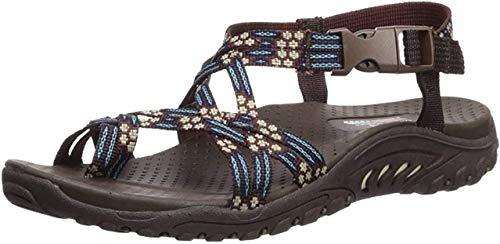 Skechers Women's Reggae Loopy Toe Ring Sandal,chocolate/blue,8 M US
