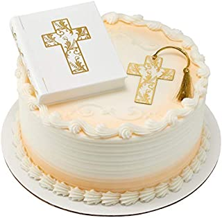 Religious Bible and Cross Cake Topper