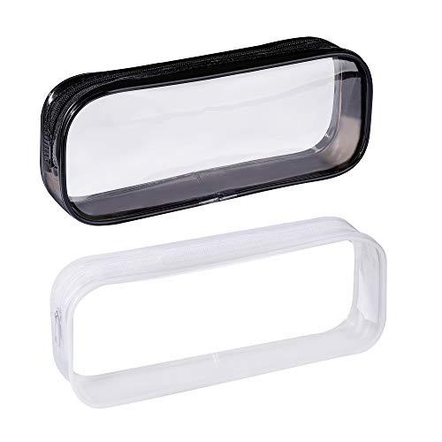 Sac à Crayons Transparente Trousse à Crayons Fermeture Éclair en PVC Grande Capacité Trousse de Maquillage 2 Pièces