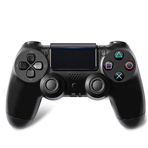 HERAHQ Controlador Controlador inalámbrico PS4, Gamepads Anti-Slip Incorporado de Bluetooth con función de vibración y Mini luz LED, para Playstation 4 / Notebook/Plataforma Steam/PC,Negro