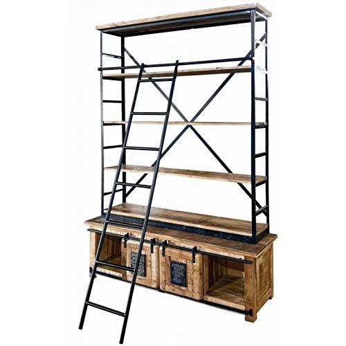 Licht-Erlebnisse Deckenhohes Bücherregal mit Leiter HEMLEY 155x230x45 cm Mangoholz Eisen XXL Regal Vintage Wohnzimmer