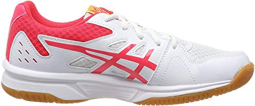 ASICS Damen Upcourt 3 1072A012-104 Volleyball-Schuh, White/Laser Pink, 40.5 EU