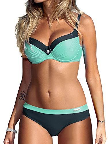 Voqeen Tops de Bikini Mujer Push-up Trajes de baño Dos Piezas Sexy Bikini Sets Mujer Ropa...
