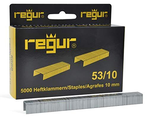 REGUR Typ 53 Feindraht-Klammern verzinkt - 5.000 Stück in der Länge 53/10 mm - Heftklammern zum Befestigen von Stoffen, Leder, Textilien sowie zum Basteln und Dekorieren