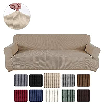 Obstal Stretch Covers for Living Room, Non Slip Fabric Slipcover with Elastic Bottom