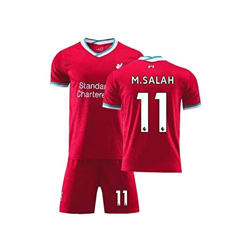 LCHENX-Conjunto de Camiseta de Fútbol Liverpool para Niños Mohamed Salah # 11 Fanáticos Conjunto de Camiseta de Campo de Entrenamiento de Fútbol Transpirable,Rojo,8Years