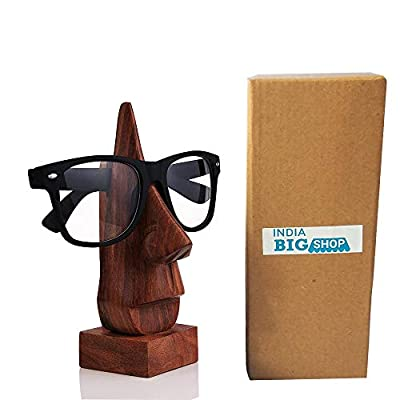 IndiaBigShop Classic Hand Carved Rosewood Nose-Shaped Eyeglass Spectacle/Eyewear Holder (Brown) by IndiaBigShop