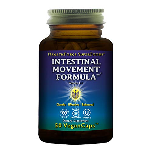 HealthForce SuperFoods Intestinal Movement Formula - 50 Vegan Capsules - All Natural Herbal Laxative, Supports Maximum Colon Cleansing - Gluten Free - 25 Servings