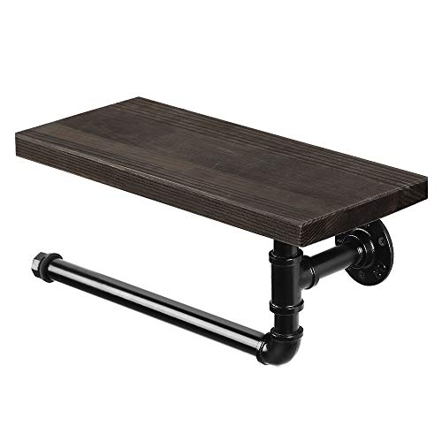 Paper Towel Holder Wall Mounted Black Toilet Paper Holder with Shelf Industrial Paper Towel Holder Stand with Wooden Board for Kitchen Bathroom