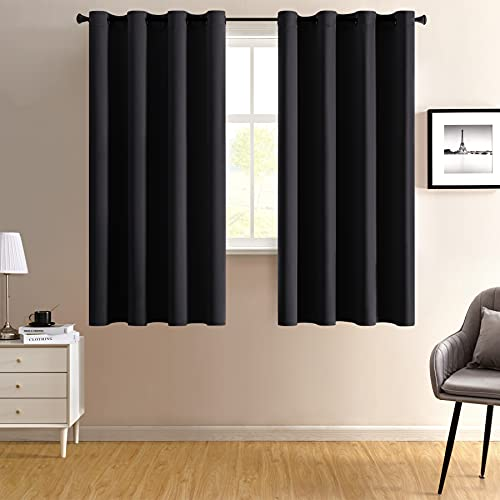 100% Blackout Curtains for Bedroom 2 Panels Black Out Heat Blocking Room Darkening Noise Reduction Light Block Thermal Insulated Soundproof Curtains for Living Room Grommet 52 x 63 Inch Length