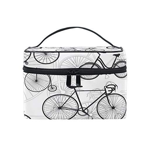 LvShen Travel Cosmetic Bag Bicycle Bike Print Toiletry Makeup Bag Pouch Tote Case Organizer Storage for Women Girls