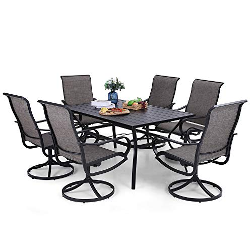 PHI VILLA Patio Dining Set 7 Piece, 6 Person Outdoor Table and Chairs with 6 Swivel Patio Chair & 60' x 38' Rectangular Large Metal Dining Table(1.57' Umbrella Hole)