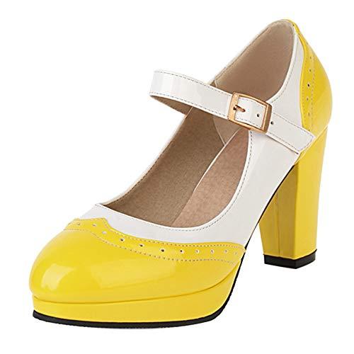 SacciButti Femmes Closes Toe Mary Jane Chaussures Mode Hauts Talons Bloc Escarpins Lolita Escarpins Fête Chaussures Yellow Size 46 Asiatique