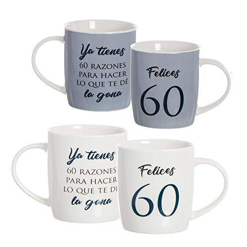 Hogar y Mas Taza de Porcelana de cumpleaños de 60 años con Frase, Color azúl y Blanco. Diseño Original y Moderno. Regalo Original 8.3 x 8.3 x 10cm 350ml. (Azúl)