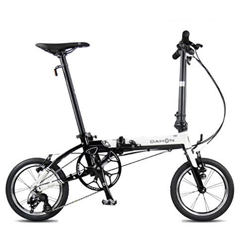 Cross- & Trekkingräder Fahrrad Faltrad Unisex 14 Zoll kleines Rad Fahrrad tragbare 3 Geschwindigkeit Fahrrad (Color : Weiß, Size : 120 * 34 * 91cm)
