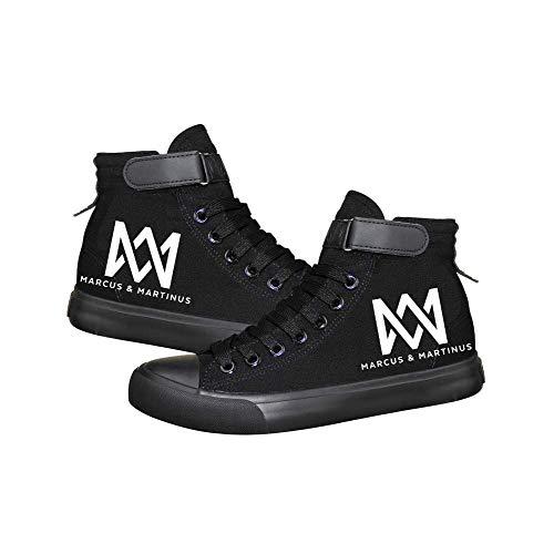 Ghgfjkjhhl Marcus and Martinus Schuhe Atmungsaktive Turnschuhe Hohe Schuhe Segeltuchschuhe Sportschuhe Schnürung Freizeitschuhe Unisex (Color : Black02, Size : EU35 US4.5)