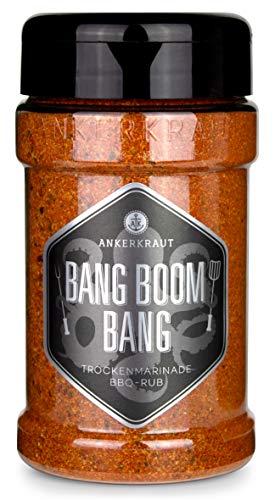 Ankerkraut Bang Boom Bang, scharfer BBQ-Rub Gewürzmischung für alle die gar nicht scharf genug essen können, 210g im Streuer
