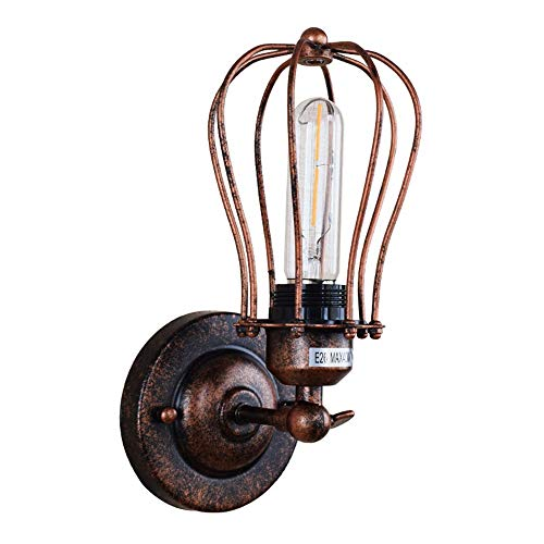 no-branded Wall Lamp Creative Wrought Iron Bedroom Bedside Lamp Corridor Aisle Restaurant Retro Wall Lamp ZHQHYQHHX
