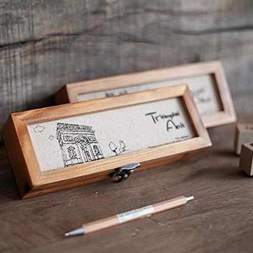 MUY Holzkiste Schmuck Uhr Brillen Bleistift Radiergummi Stempel Schule Briefpapier Lagerung Holz Fall Sammlung Geschenkbox Schreibtisch