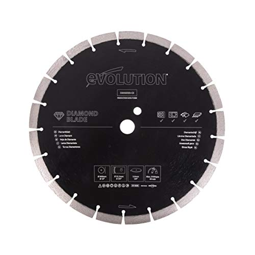 Evolution 12 Inch Diamond Blade with Segmented Edge, 1 In Bore, Concrete, Stone, Brick Cutting Diamond Blade
