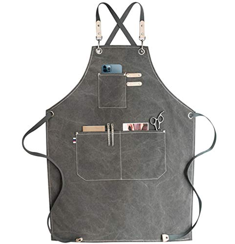 carrotez Chef Apron, Waterdrop Resistant Cotton Canvas Cross Back Adjustable Apron, M-XXL