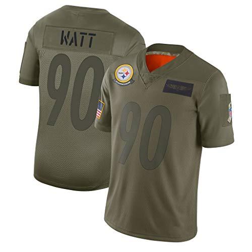 Camiseta de rugby para hombre de fútbol # 90 T.J. Watt Pittsburgh Steelers Sportswear Fans sudadera de fútbol de manga corta deportiva camiseta de malla doble cara deportiva