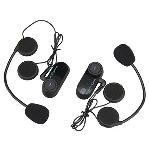 Excelvan FDC02 - 2×Auriculares Intercomunicador Bluetooth de casco de motocicleta Moto Intercom...