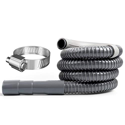 Hosom 6 Feet Washer Drain Hose Extension with Clamp, Heavy Duty Discharge Hose for Washing Machine, Industrial Grade Polypropylene Drain Hose