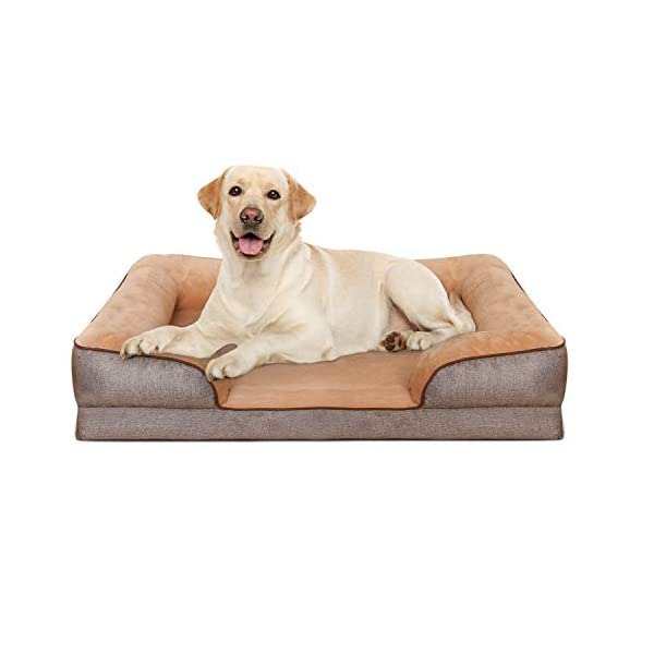 Heeyoo Waterproof Orthopedic Dog Bed, Large Memory Foam Pet Beds Pillow with Removeable Machine Washable Cover and Non Slip Bottom, Great for Older Dog and Dogs with Arthritis