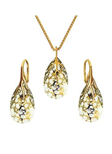 *Beforya Paris* *MANDEL* - Silber 925 Vergoldet 24K - Damen SchmuckSet *44 Colors*- Schmuck mit Kristallen von Swarovski Elements - Ohrringe und Halskette mit Geschenkbox BAP39 (Gold Patina)