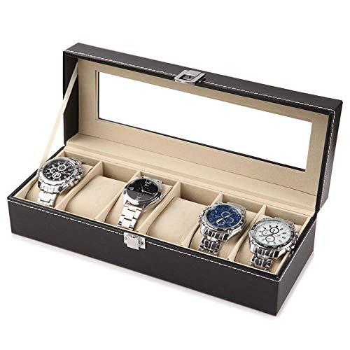 Caja de reloj de 6 ranuras Organizador de reloj, con cerradura de llave Caja de reloj para hombre con tapa de vidrio Caja de colección de reloj clásico para almacenamiento y exhibición