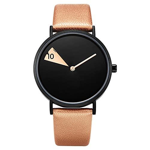 XIAN Reloj de señora Minimalismo Reloj de Mujer Círculo Cuero Casual Popular Cuarzo Reloj de Regalo para niñas,Zong Color