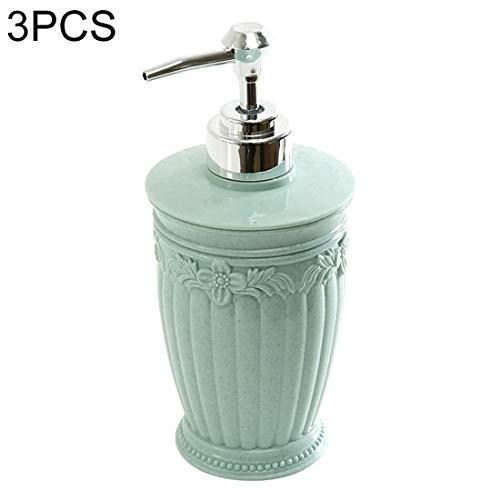 QIJIAN 3 PCS Ronde de Presse de Style sculpté Gel Douche Savon Main Remplissez la Bouteille Vide (Rose Clair) (Color : Baby Blue)