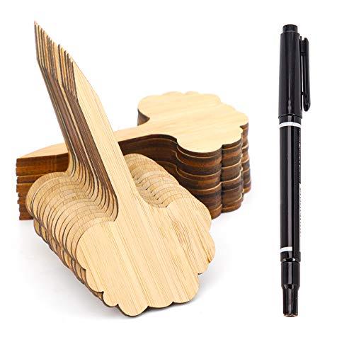 AIEX 30PCS Bambus-Pflanzenetiketten, grüne Baumarten-Pflanzenmarkierungen Holz-Gartenanhänger für Garten-Topfblumen-Gemüse