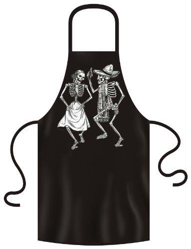 coole SUGER-SKULL Schürze: Dancing skeletons Farbe: schwarz Größe: unisex