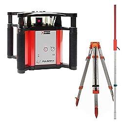 PULSAR H vollautomatischer Rotationslaser/Nivellierlaser mit Alu-Stativ und Kombi-Laserlatte 2,4 m