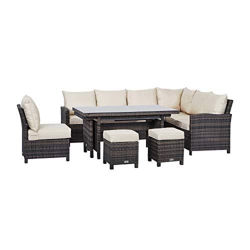 Nova Outdoor Living - Cambridge Outdoor Right Hand Rattan Corner Sofa Dining Set with Extending Table - Flat Brown Weave