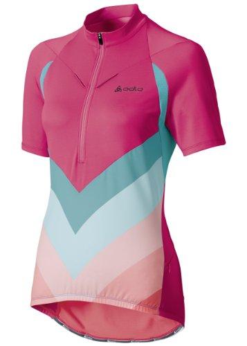 Odlo Maillot d'équipe de Cyclisme à col Montant Demi Fermeture éclair et à Manches Courtes/1 2 Zip-Nino XL Multicolore - Rose/Corail/Bleu
