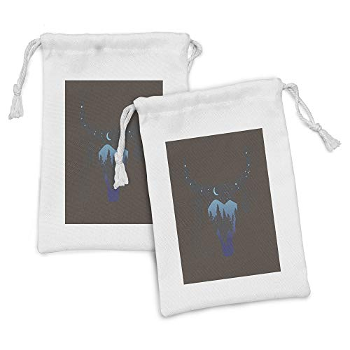 Ambesonne Ethnic Fabric Pouch Set of 2, Cow Skull Silhouette Forest Sky Moon Landscape Feathers Bohemian Wild, Small Drawstring Bag for Toiletries Masks and Favors, 9' x 6', Umber Black and Pale Blue